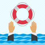 Background with hand and lifebuoy vector illustration