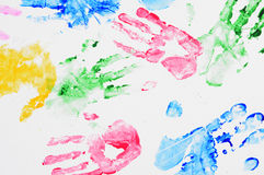 Background hand prints. Colourfull red green yellow royalty free stock images