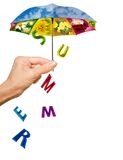 Background with hand, summer umbrella and letters Royalty Free Stock Photography