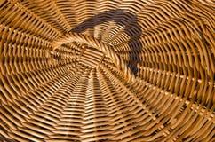 Background of hand-woven basket reed lid handle Stock Image