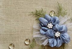 Background with handmade flowers. Canvas background with handmade flowers in the corner Royalty Free Stock Images