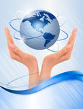 Background with hands holding globe. Royalty Free Stock Photography