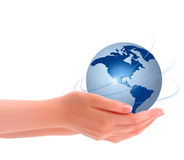 Background with hands holding globe Royalty Free Stock Images
