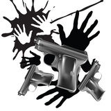 Background with hands print and pistols Stock Photo