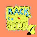 Background with handwritten inscription Back to school. Royalty Free Stock Image