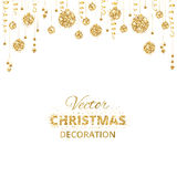 Background with hanging christmas balls and ribbons isolated Stock Images