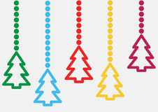 Background with hanging christmas trees Stock Images