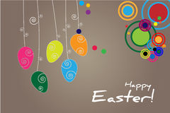Background with hanging easter egs Royalty Free Stock Photos