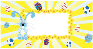 Background with hanging eggs, rabbits and landscape, vector illustration. Happy easter greeting card Stock Images