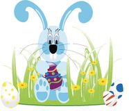 Background with hanging eggs, rabbits and landscape, vector illustration. Happy easter greeting card Stock Photo