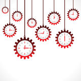 Background of hanging gear shape red clocks. Vector Stock Photography