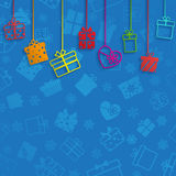 Background with hanging gift boxes Stock Photos