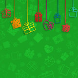 Background with hanging gift boxes Stock Images