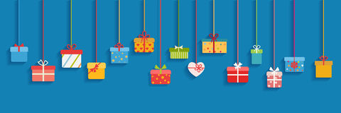 Background with hanging gift boxes Royalty Free Stock Photos