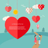 Background with hanging hearts and landscape. Vector illustratio Royalty Free Stock Photos