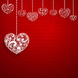 Background with hanging hearts Royalty Free Stock Image
