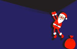 Background with hanging Santa Claus. And a bag of gifts Royalty Free Stock Photo
