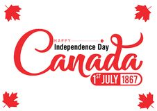 Red typography happy canada. Background happy canada day with typography white and red available for celebrating and events royalty free illustration