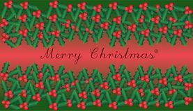 Background of a happy christmas with a branch of ilex with berries and leaves. On a pink-green background Royalty Free Stock Images