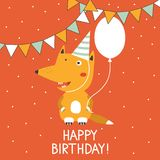 Backdrop with happy fox, air ballon, checkboxes and text. Happy birthday! vector illustration