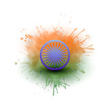 Background for Happy Indian Independence Day celebration with Ashoka wheel and national flag colors, vector illustration Stock Photos