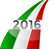 Background 2016. Happy New Year 2016 with the Italian flag stock illustration