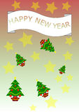 Background happy new year. Particular background of good year consists of Christmas trees and golden stars Stock Photo