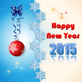 Background with Happy New Year text and snow flakes divider Stock Images