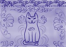 Background  ultramarine cat in Chinese style vector illustration
