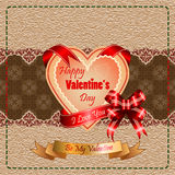 Background with Happy Valentine's Day  text and I Love you on ribbon. Vintage Happy Valentine's Day background with Happy Valentine's Day  text and I Love you on Royalty Free Stock Photo