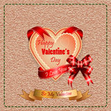 Background with Happy Valentine's Day  text and I Love you on ribbon Royalty Free Stock Photo