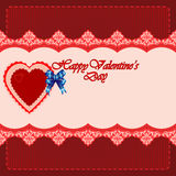 Background with Happy Valentine's Day text onarabesque lace Stock Image