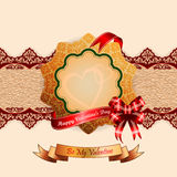 Background with Happy Valentine's Day text on ribbon Royalty Free Stock Photos