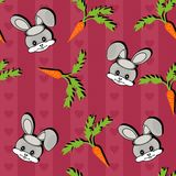 Background with hares and carrots Stock Images