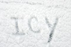 Background has word Icy Stock Image