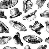 Background with hats. Vector pattern of the collection of the vintage hats vector illustration