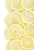Background of heap fresh yellow lemon slices isolated Royalty Free Stock Photos