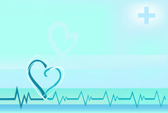 Background with heart beating line Royalty Free Stock Photo