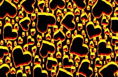 Background with heart. Beautiful illustration of flaming hearts in the background of lava stock illustration