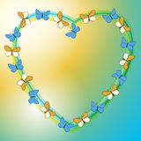 Background with heart and butterflies - vector Royalty Free Stock Images