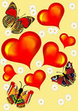 Background with heart butterfly Royalty Free Stock Image