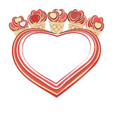 Background with a heart and cakes. Vector background with a heat and cakes Stock Images