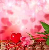 Background with heart, candy and rose Royalty Free Stock Images