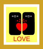 Background with a heart for the cover phone Royalty Free Stock Photo