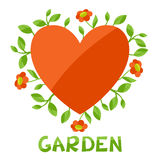 Background with heart and flowers love garden Stock Photo