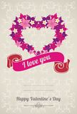 Background with heart from flowers on Valentines D. Congratulatory gray background with heart and text greetings vector illustration