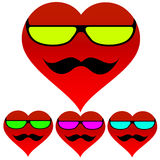 Background heart glasses mustache Royalty Free Stock Images