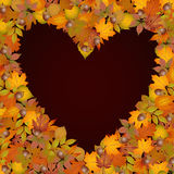 Background heart made of autumn leaves Royalty Free Stock Photos