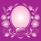 Background with heart and ornament of roses Royalty Free Stock Image