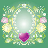 Background with heart and ornament of roses Royalty Free Stock Photography